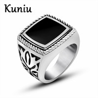 Fashion Retro Punk Pattern Epoxy Ring Highly Polished Stainless Steel Men Ring Wedding Jewelry