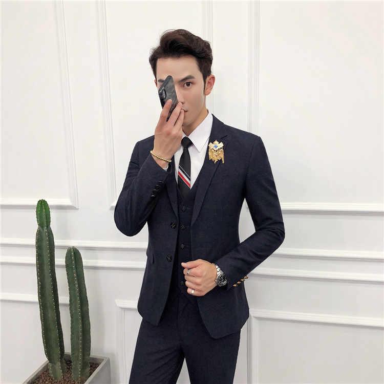 2019 الرجال دعوى العلامة التجارية الأزياء خليط رجل 3 قطع الدعاوى الأسود ، الأحمر ، الأخضر الداكن عنابي زي Acket السراويل صدرية