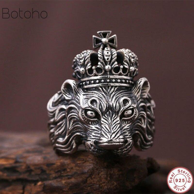 Nouveau réel pur 925 en argent Sterling anneaux pour hommes bleu naturel cristal pierre hommes anneau Vintage creux gravé fleur bijoux fins
