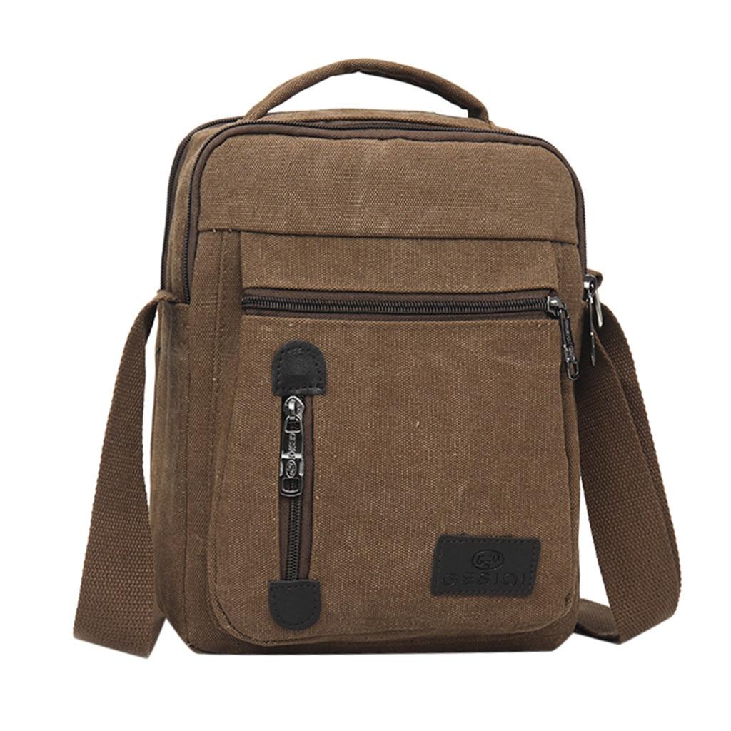 New Arrived Luxury Brand Men's Messenger Bag Vintage Fashion Canvas Solid Color Casual Business Shoulder Bag Messenger Bags