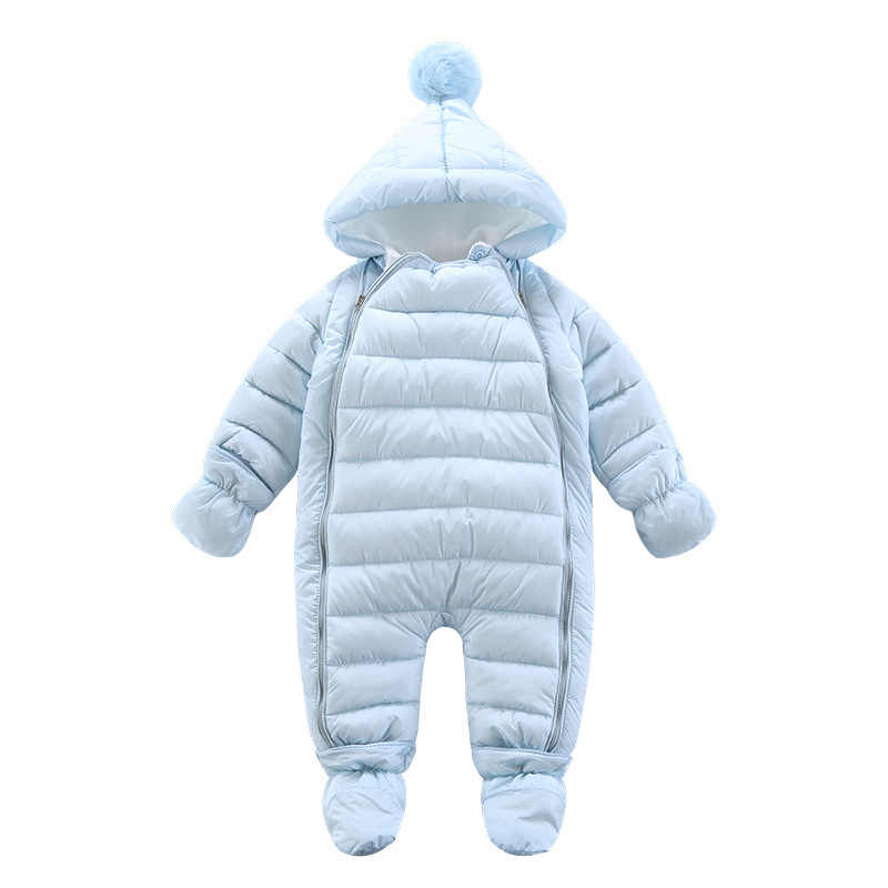 03424dbf90c8 ... 2018 NEW Baby Rompers Winter Thick Warm Baby girl boy Clothing Solid  Long Sleeve Hooded Jumpsuit ...