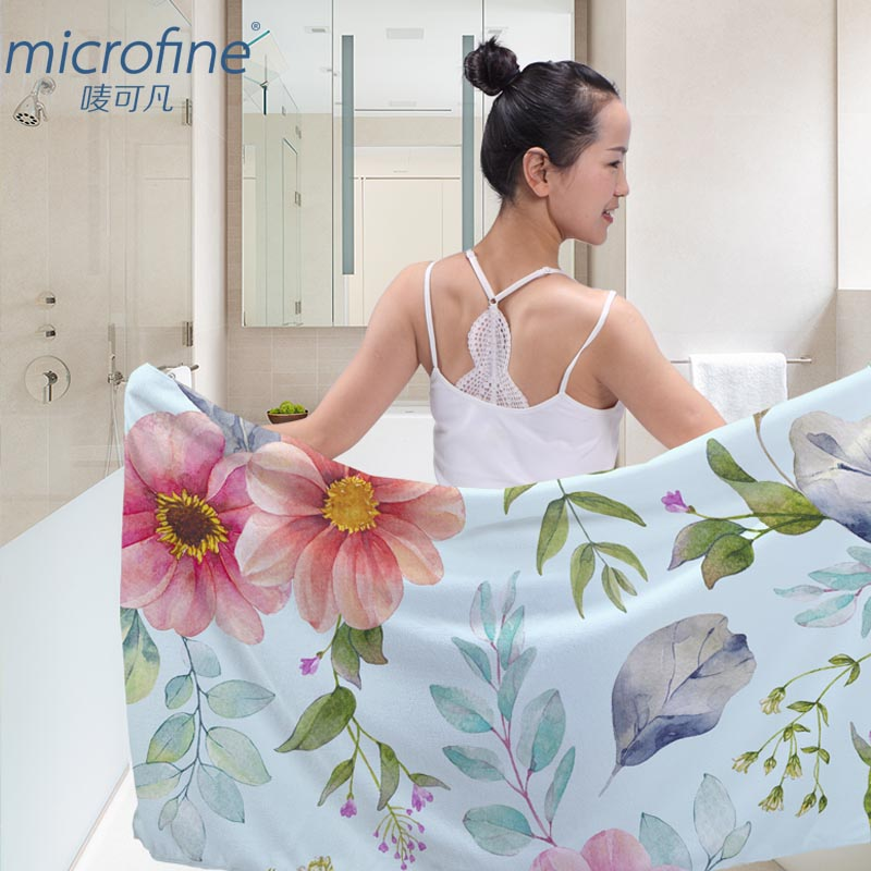 Microfine Microfiber Towels Luxuly Colorful Large Flower
