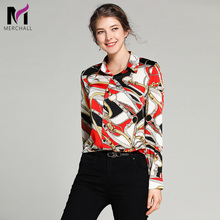Merchall Work Blouse Women 2019 New Spring Long Sleeve Turn Down Collar Floral Print Color Block Office Casual Runway Shirts girls plaid blouse 2019 spring autumn turn down collar teenager shirts cotton shirts casual clothes child kids long sleeve 4 13t