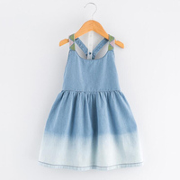New Girl Dresses 2018 Summer Solid Blue Denim Dress Baby Girls Sleeveless Straped Casual Holiday Clothing