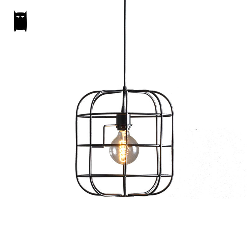 Black Iron Cage Pendant Light Cord Fixture Modern Retro Vintage Loft  Industrial Bulb Hanging Lamp Luminaria Living Dining Room vintage loft pendant ceiling light fixture retro hanging lamp shade bulb not included