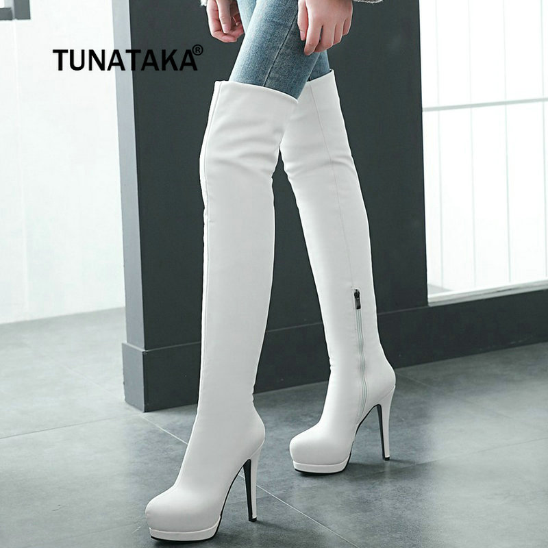 Women's Sexy Thin High Heel Over The Knee Boots Pu Leather Platform Side Zipper Thigh Boots Fashion Ladies Shoes jialuowei women sexy fashion shoes lace up knee high thin high heel platform thigh high boots pointed stiletto zip leather boots