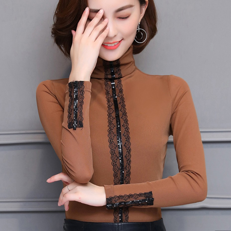 fad6e013958 Толстые бархатные Блузы зимние кружевные лоскутные с длинными рукавами  женские офисные рубашки блузки feminina женские рубашки
