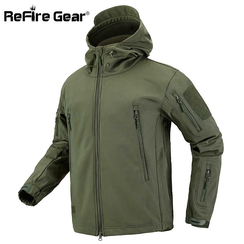 ReFire Gear Camouflage Militaire Jas Mannen Waterdichte Soft Shell Tactische Jas ONS Leger Kleding Winter Fleece Jas Windjack