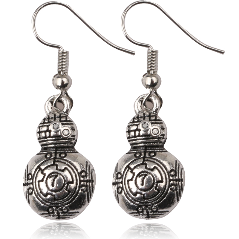 Fashion Jewelry HOT Movie Star Wars the Force Awakens 3D Robot BB8 Earrings for women Girls Gift