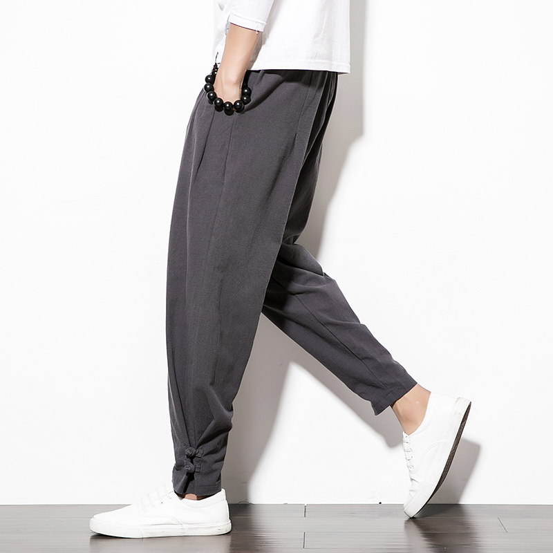 Jogging-Pants Loose Trousers Linen Men's Cotton Casual New And Autumn Solid-Color