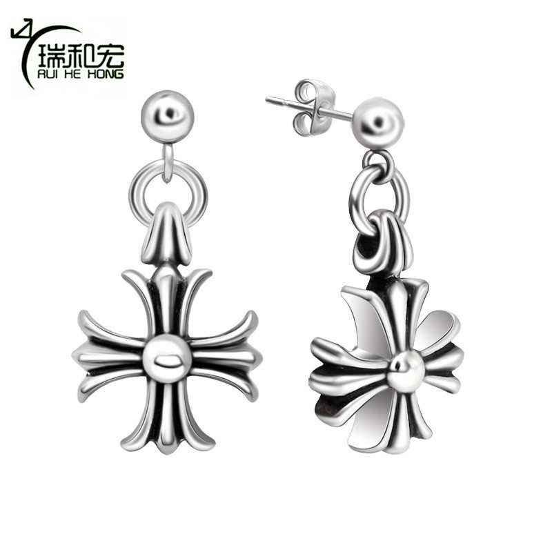 Retro Personality Cross Flower Earrings Titanium Steel Do Black Old Process Punk Style Earrings for Women Men Unisex Jewelry