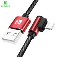 FLOVEME 90 Degree USB Cable For iPhone X XS 6 6S 7 8 1M Fast Charging Cable For iPhone 5S 5 SE iPad USB Charger Cable Data Cord