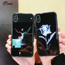 Luxury Luminous Tempered Glass Case Cover For iPhone X XR XS8 7 6 6s Plus