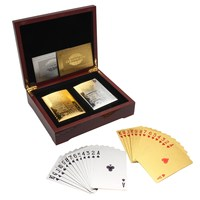 New Arrival Playing Cards with Brown Poker Collection Wooden Box Set Gold & Silver Colors Best Gift Set For The Card Player