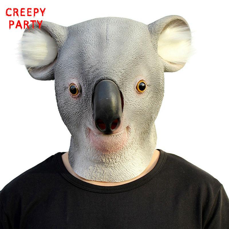 라텍스 동물 파티 마스크 코알라 전체 얼굴 성인 코스튬 마스크 파티 마스크 할로윈 현실적인 가상 코스메틱 드레스
