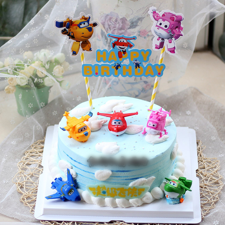 US $14.71 8% OFF|8Pcs / Set Cake Decor Deformable Super Wings Action Figures Toys Robot Birthday Gift Educational Toys for Children Minifigures-in ...