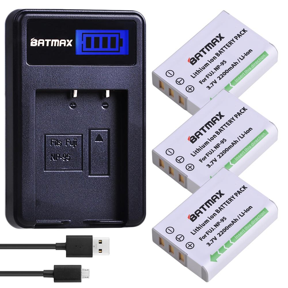 3Pcs NP-95 NP95 NP 95 Camera Battery + LCD USB Charger For FUJIFILM NP-95 F30 F31 F30fd F31fd 3D W1 X100T X100S X100 X-S1 3DW1