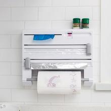 6 in 1 Spice Rack Organizer Kitchen Paper Towel Holder Aluminum Film Plastic Wrap Cutter Wall Hanging Kitchen Storage Shelf