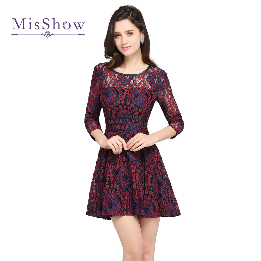In Stock Cocktail Dresses 2019 A Line Lace Prom Dresses Elegant Women Party Dress Cheap Above Knee Mini Robe De Cocktail Gowns