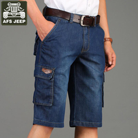 AFS JEEP Brand Shorts Men Cargo Shorts Bermuda Masculina Homme Male Casual Fashion Denim Short Men