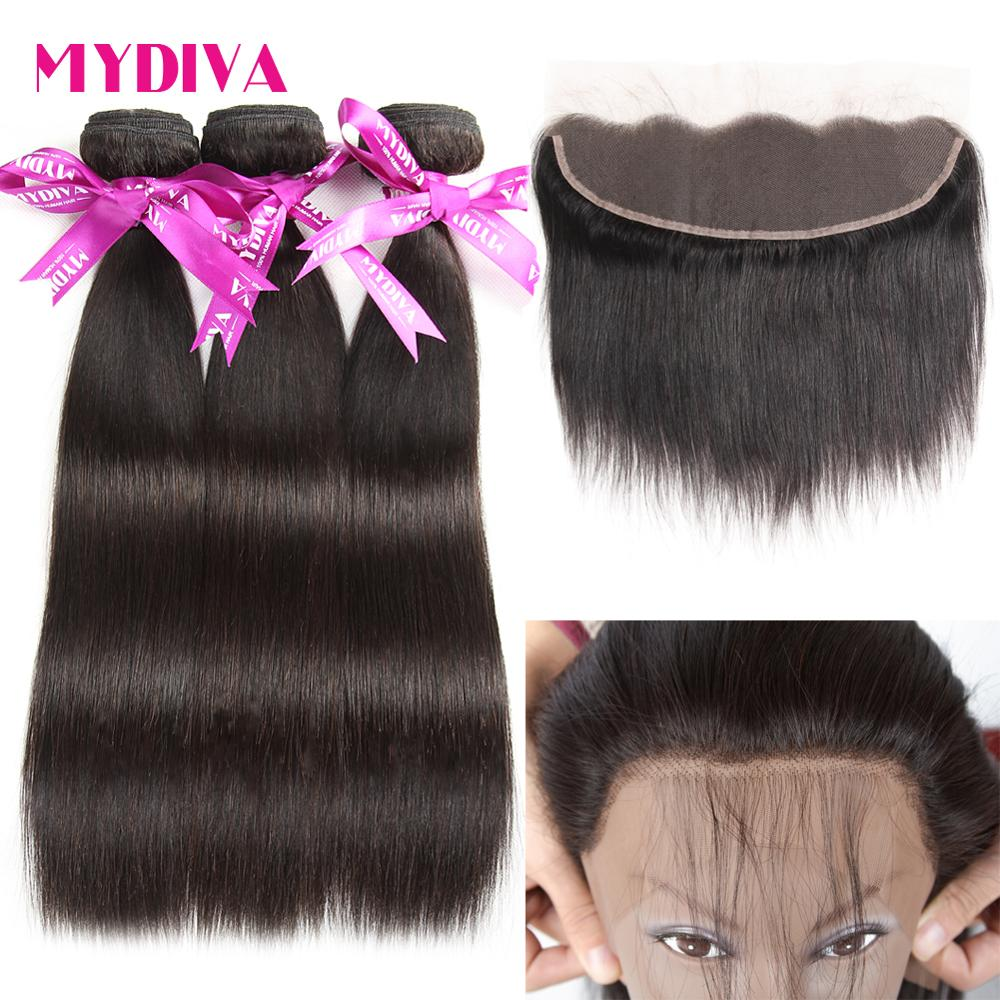 Mydiva 13 4 Ear To Ear Lace Frontal With Hair Bundles Peruvian Straight Natural Color 4Pcs