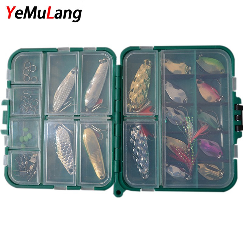 YeMuLang 36 pcs/lot Artificial Fishing Lure Set Spoon Hard Bait Kit For Fishing Accessorise Pesca 30pcs set fishing lure kit hard spoon metal frog minnow jig head fishing artificial baits tackle accessories
