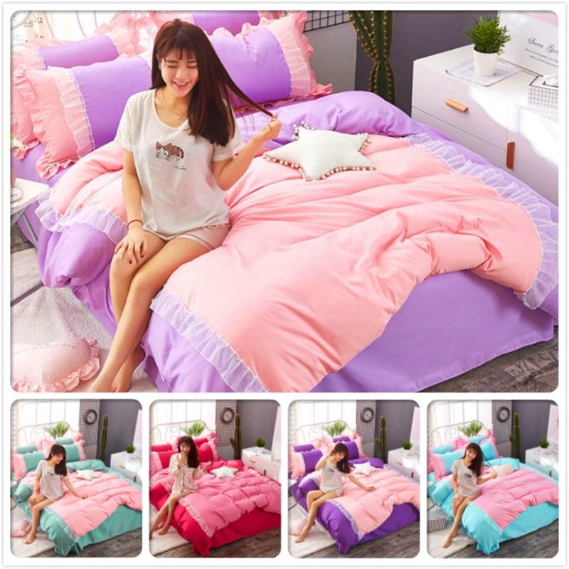 Pink Purple Ruffles Lace Edge Duvet Cover Sheet Pillow Quilt Case 3/4 pcs Bedding Set Princess Single Twin Queen Size 1.5m 1.8m