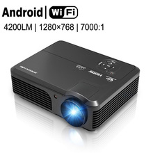 CAIWEI Support 1080P HD Home Theatre Projector Wifi Android TV Movie HDMI VGA USB LCD Display for Smart Phone Tablet PC DVD AV