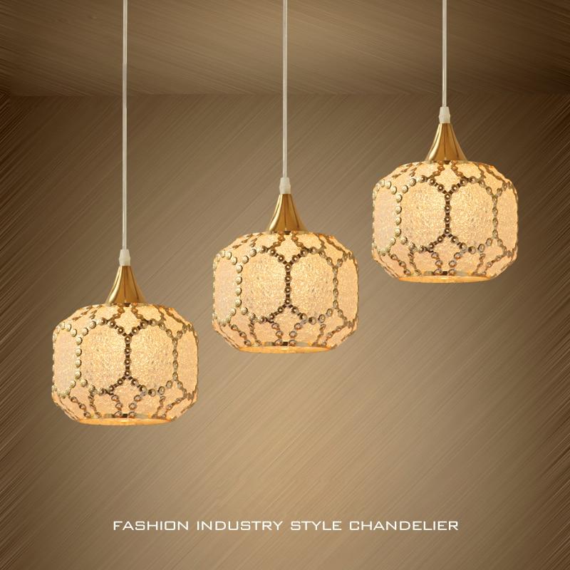Modern Creative Metal Suspension Lamp Lighting 1/3 Lights European Art Glass Shade Aisle Dining Room Pendant Light Fixture PL683