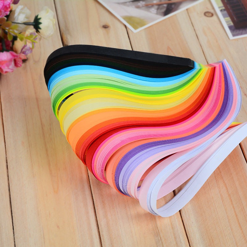 260 Pcs 26colors Rayures Quilling Papier Assortiment Couleur Origami Papier Artisanat DIY Largeur 3mm / 5mm / 7mm / 10mm Pour Option Longueur 39cm