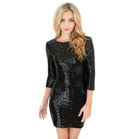 New Women Christmas Dress Sexy Bright Color Bling Slim O Neck Long Sleeve Backless Bodycon Party