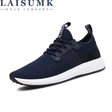 2018 LAISUMK New Men Casual Shoes Lace up Fashion brand Mesh Spring Summer shoes Flats Solid Men Breathable Men Sneakers