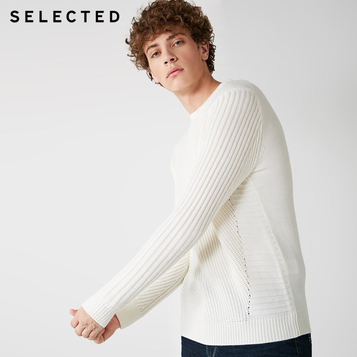 SELECTED Men's Wool-blend Round Neckline Knitted Sweater S|418425535
