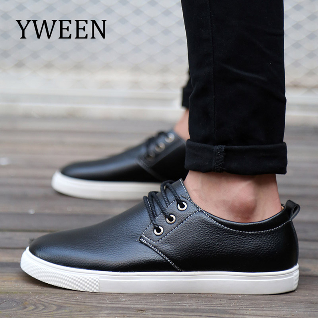 YWEEN Men s Casual Shoes Spring Autumn Top Fashion Style Leather Shoes Men  Flat Leisure Shoes Large Size bd55367eb7f5