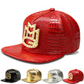 2017 vogue cristal crown snapback chapéus bonés de beisebol de couro falso Strass ouro Logotipo das mulheres dos homens de Letras de Rap hip hop MMG presente