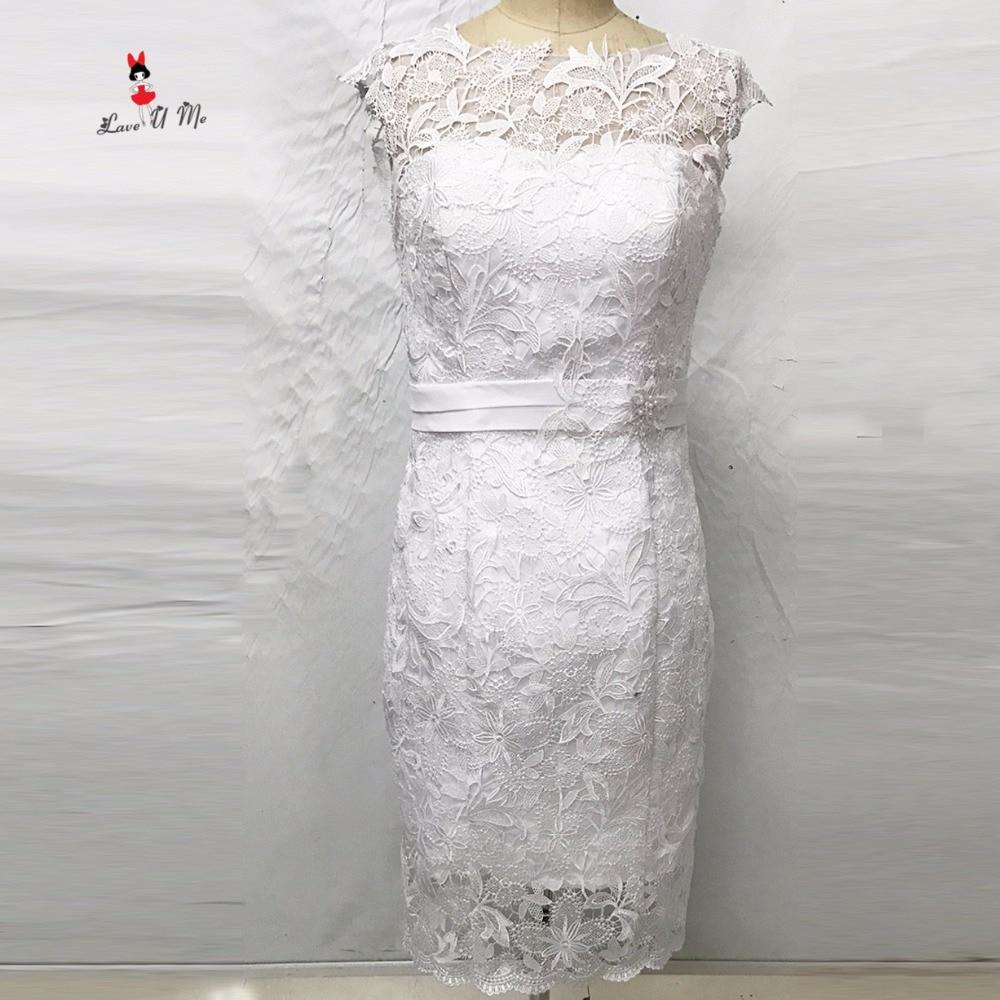 Boho Short Wedding Dress Lace Sheath Knee Length Bride Dresses 2017 Vestido de Noiva Curto Flowers Wedding Gowns Abito Sposa