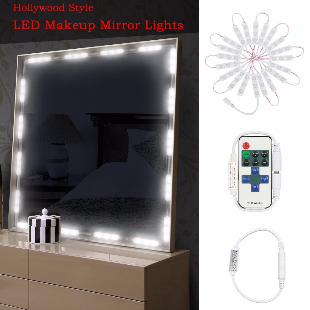 10FT 60LED Makeup Mirror Ligh Bathroom Vanity Light Kit,DIY Cosmetic Hollywood Make Up Mirror with Remote and power adapter