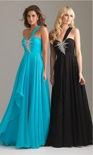 2015 Sexy One shoulder Sweetheart Sheath Beading Full length Chiffon Blue and Black Prom Dresses PD1002