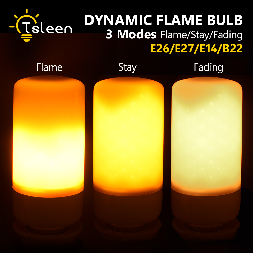TSLEEN 2Pcs LED Corn Bulb E27 Dynamic Flame Effect Fire Lamp Flicker AC 85-265V Emulation Christmas Home Decoration Candle Light
