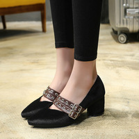 HIZCINTH 2018 Spring Pumps Square Heel Mary Jane Shoes Belt Buckle Single Shoes Woman High Heels