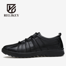RELIKEY Brand Men Casual Shoes New Arrival Fashion Genuine Leather Men Shoe,Comfortable Breathable Lace-up Casual Zapatos Hombre