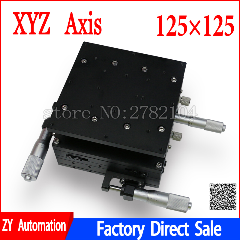 XYZ Axis Trimming Station Manual Displacement Platform Linear Stage Sliding Table 125*125mm XYZ125LM-2 147N double cross railXYZ Axis Trimming Station Manual Displacement Platform Linear Stage Sliding Table 125*125mm XYZ125LM-2 147N double cross rail