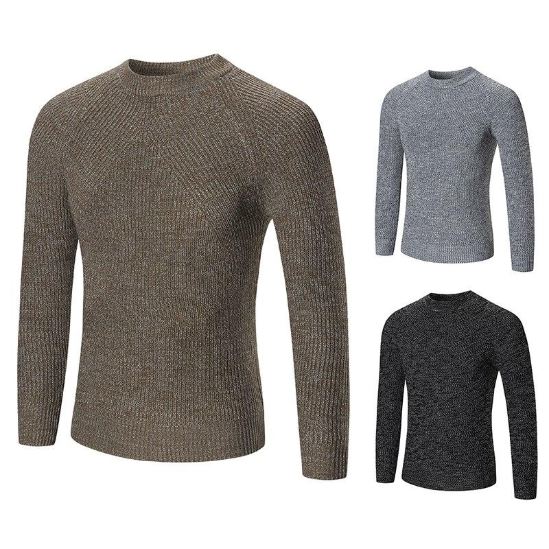 2018 Frühling Herbst Winter Pullover Männer Baumwolle Männer Langarm-pullover Einfach Gestrickt Solide Grau Größe Xxl Pullover Hombre
