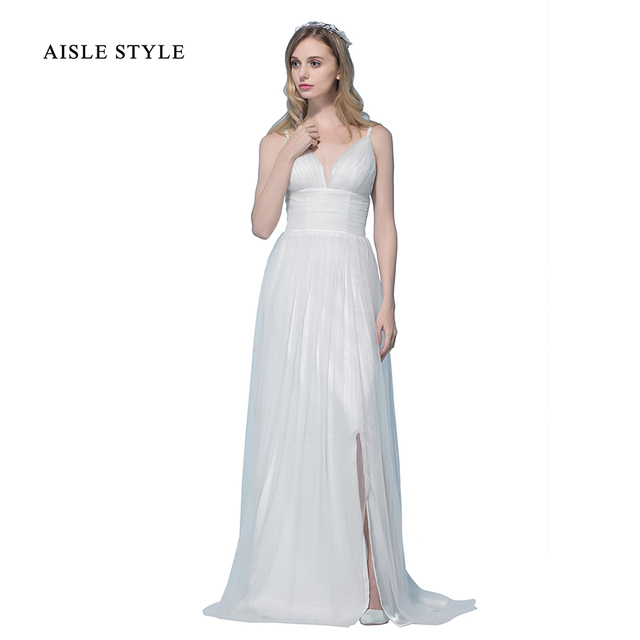 Casual Beach Wedding Dresses.Us 130 09 Casual Beach Wedding Dresses Long Sleeveless V Neck Simple A Line Tulle Wedding Dress With Slit Ruched Waist Wedding Gown 2017 In Wedding