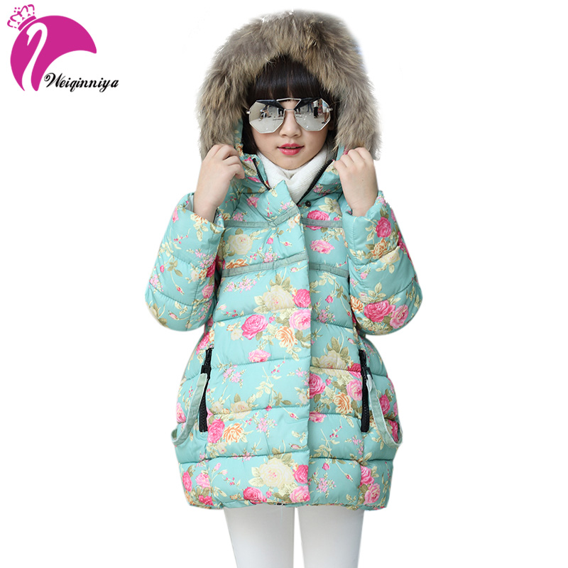 Kids Down Parkas Jackets For Girls Fashion Girl Winter Warming Thick Floral Pattern Hooded Outwear Coats Children's Colthing Hot jackets for girls winter cotton down jacket for girl down parkas with fur hooded polka dot outwear coats children s clothing hot
