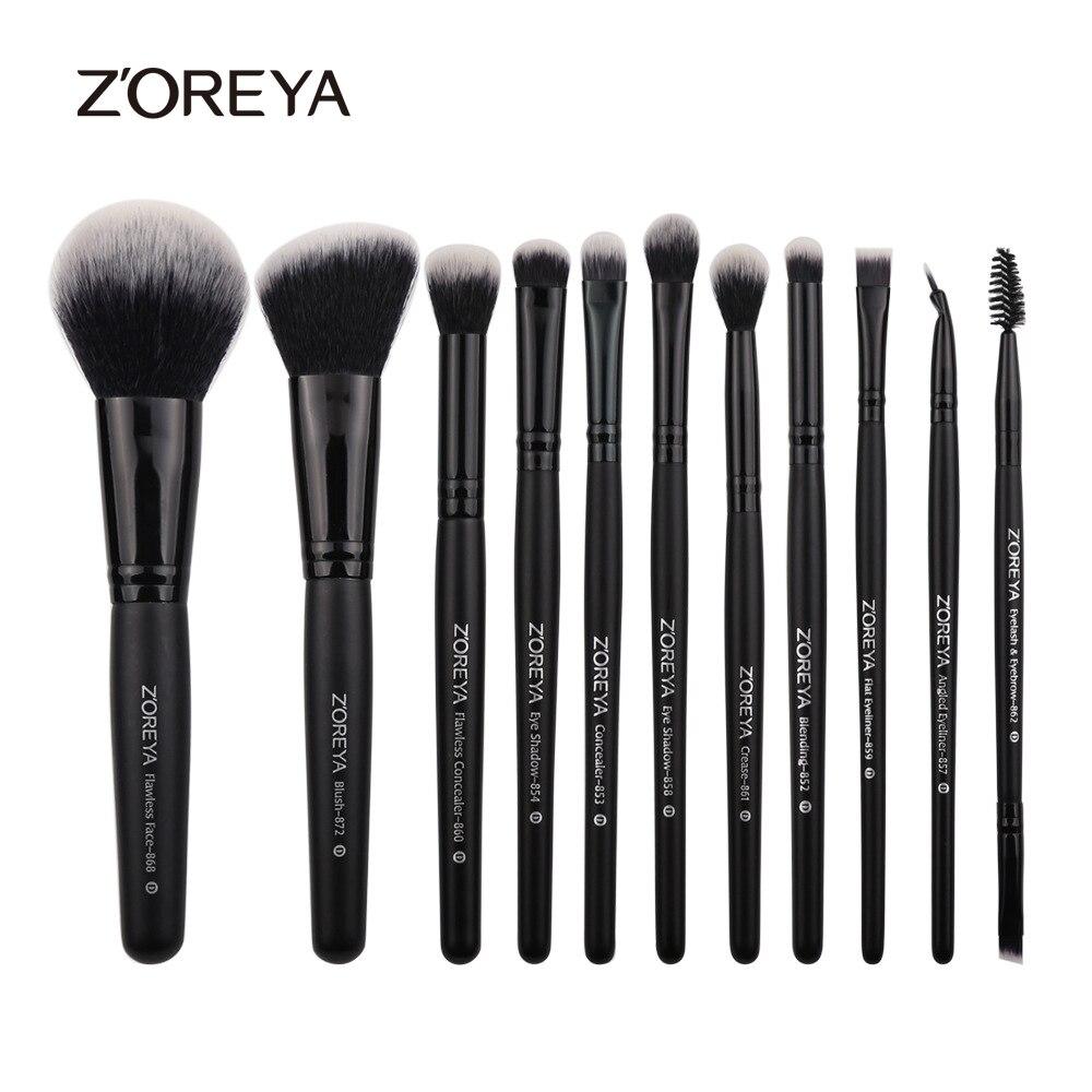 ZOREYA 11pcs Professional Makeup Brushes Wood Handle Blush For Eye Makeup Brushes Tool Eyeliner Cosmetic Make Up Brush Set Kits