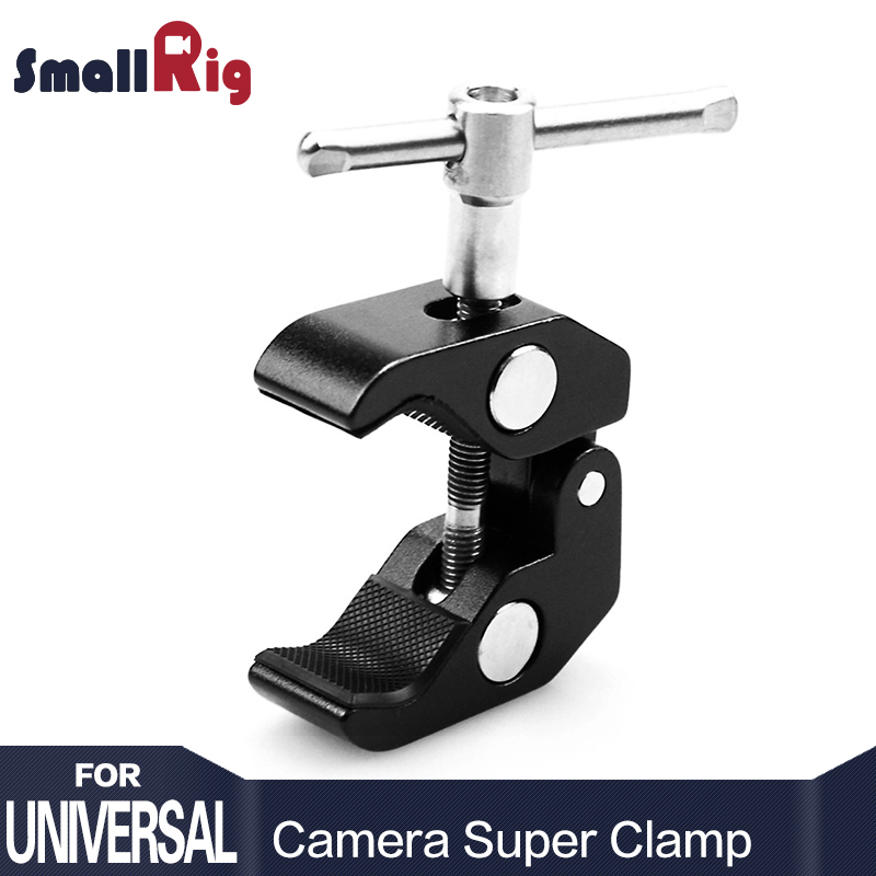 "SmallRig Super Clamp w / 1/4 ""dan 3/8"" Thread untuk Kamera, Lampu, Payung, Cangkuk, Rak, Kaca Plate, Bar Cross, dll - 735"