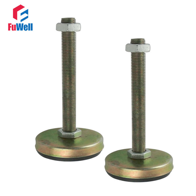2pcs M18/M20 Thread Adjustable Foot Cup 85mm Base Diameter with Antislip Pad Articulated Leveling Foot for Furniture/Pipe Rack