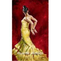 sexy dancer girl Flamenco Spanish Woman Heat Dancing Dancer Oil Painting Canvas art Flamenco Dancing wall pactures