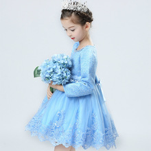 Korean Princess Girls Autumn Children Long Sleeve Lace Embroidery Dress with Velvet Kids Clothing Thin Thick